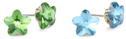 Betsey Johnson Blue And Green Flower Duo Stud Earring
