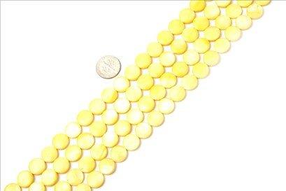 11mm coin gemstone yellow Sea shell beads strand 15