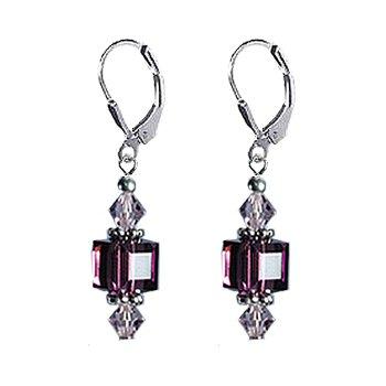 Amethyst Swarovski Cube Crystal .925 Sterling Silver Leverback Dangle Earrings