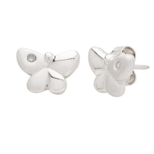 Sterling Silver Children's Butterfly Button Earrings