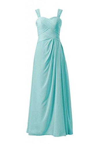 Daisyformals Chiffon Floor Length Bridesmaid Dress W/ Straps(Bm732)- Tiffany Blue