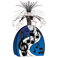 Musical Notes Centerpiece (black & silver) Party Accessory  (1 count) (1/Pkg)