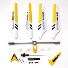 Full Set Replacement Parts for Syma S107 RC Helicopter - Main Blades - Main Shaft - Tail Decorations - Tail Props - Balance Bar - Gear Set - Connect Buckle-Yellow Set-