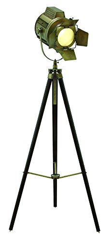 Wood Tripod Spot Light with Metal Fixtures