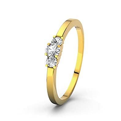 21DIAMONDS Shannon 21PREMIUM White Topaz Brilliant Cut Women's Ring 14 Carat (585) Yellow Gold Engagement Ring
