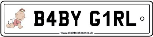 Baby Girl Number Plate Car Air Freshener back-120488