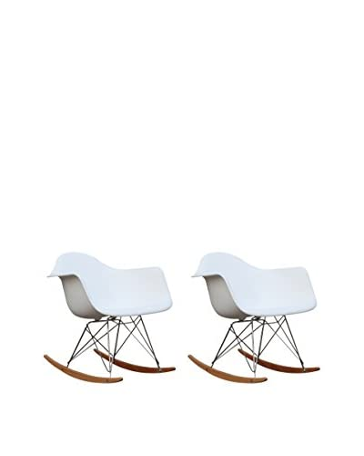 Manhattan Living Set of 2 Rocker Arm Chairs, White