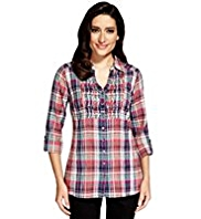Per Una Pure Cotton Nordic Checked Blouse