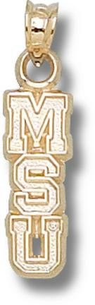 Mississippi State Bulldogs Vertical MSU 5 8 Pendant - 14KT Gold Jewelry by Logo Art