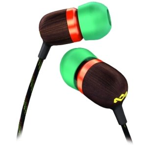 House Of Marley Em-Je003-Ra In Ear Headphone W/Mic Rasta 3 Button Control Carry Bag And Tips