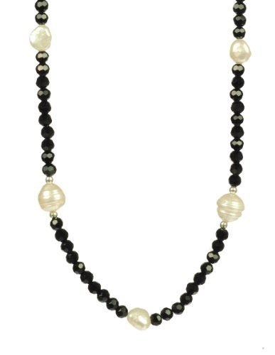 Baroque and Ringed White Freshwater Cultured Pearls with Black Onyx Glass Beads Necklace 30