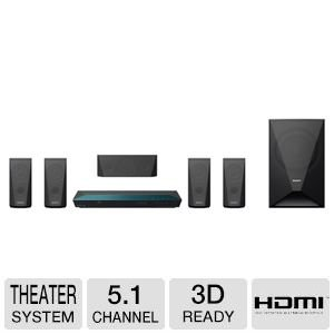 Sony 5.1 Channel 1000 Watts 3D Blu-ray DVD Surround Sound Home Theater System with Full HD 1080p, Built-in Wi-Fi, 2D to 3D Conversion, Bluetooth Wireless Streaming, Dolby TrueHD and DTS-HD Sound Modes, Front-Panel USB Port, HDMI output, FM Tuner, I/P Nois
