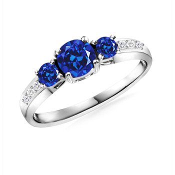 Round Lab Created Sapphire and Simulated Diamond Three Stone Ring in 10k White Gold