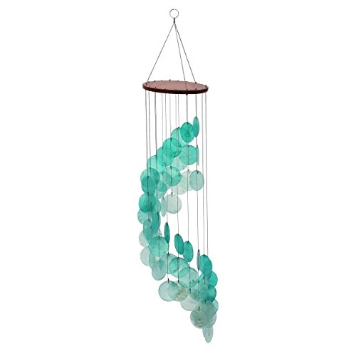 Capiz Shells Teal Tinted Spiral Wind Chime