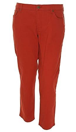 Lauren Jeans Co. Ralph Lauren Women's Modern Straight Ankle Jean Red 16