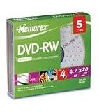 Memorex - 5 x DVD-RW - 4.7 GB ( 120min ) 4x - slim jewel case - storage media