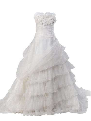 Artwedding Strapless Tiered Organza Overlay Ball Gown Wedding Dress,Ivory,6