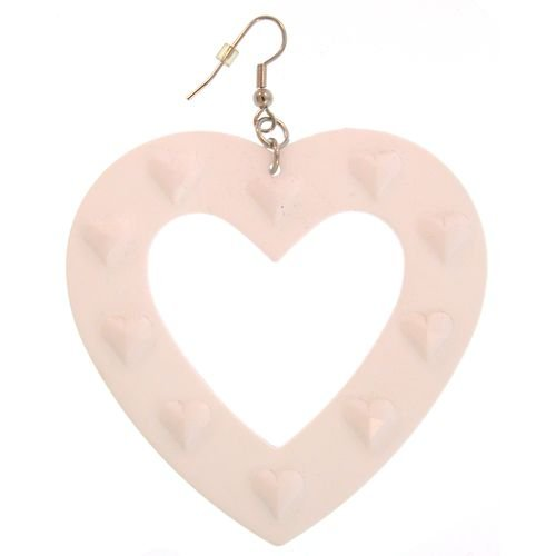Large Plastic Heart Earring In White with Silver Finish