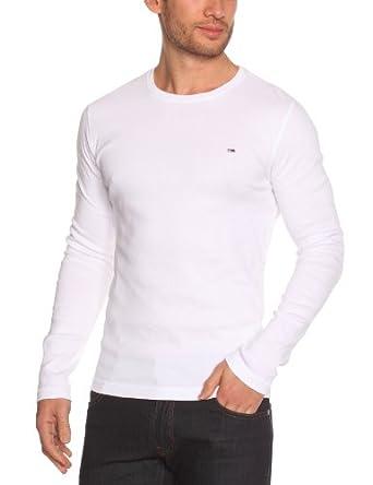 Hilfiger Denim - Trump Knit - T-shirt à manches longues - Uni - Col rond - Homme - Blanc (Classic White) - FR : Large (Taille fabricant : L)
