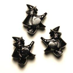 Halloween Witch Plastic Beads, Black, 24 beads