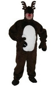 Deluxe Christmas Reindeer Suit w/ Open Face Adult Costume Size 54 X-Large (XL)