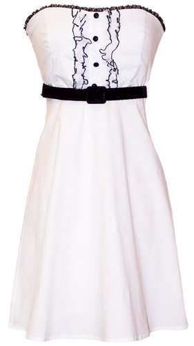 50's Rockabilly Tux Ruffle Sundress Dress JR Plus Size