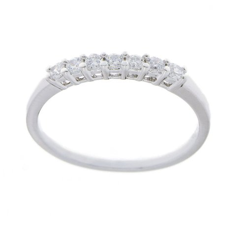 Platinum Plated Sterling Silver Round Cubic Zirconia Stackable Ring, Size 7