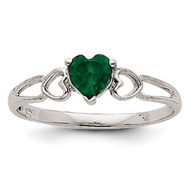 Genuine IceCarats Designer Jewelry Gift 14K White Gold Emerald Birthstone Ring Size 6.00