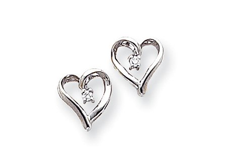 14K White Gold Twist Heart Stud Diamond Earrings