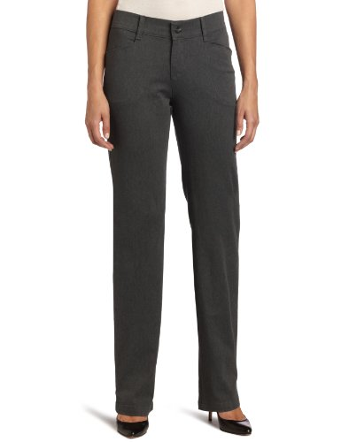 Lee Women's Relaxed Fit Plain Front Straight Leg Pant, Charcoal Heather, 10