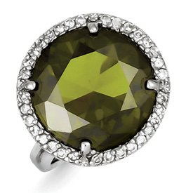 Genuine IceCarats Designer Jewelry Gift Sterling Silver Clear & Green Cz Ring Size 9.00