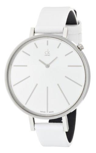 Calvin Klein K2E231L6 - Reloj analógico de cuarzo para mujer con correa de piel, color blanco