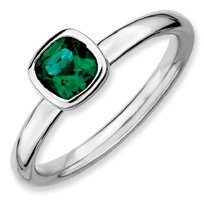 0.54ct Silver Stackable Cushion Cut Emerald Ring Band. Sizes 5-10 Available