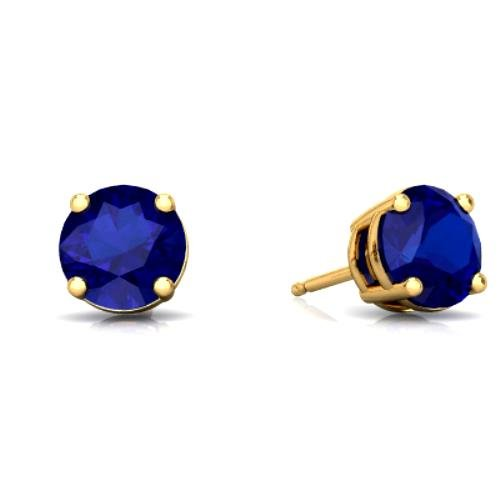 14Kt Yellow Gold Created Blue Sapphire 4mm Round Stud Earrings (Elizabeth Jewelry Inc Sapphire compare prices)