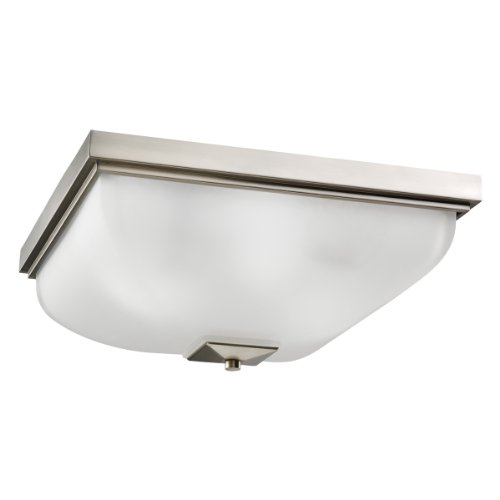 B001AXD4HW Kichler Lighting 7011NI 4-Light Incandescent Ceiling Flush Mount, Brushed Nickel with Satin-Etched Glass