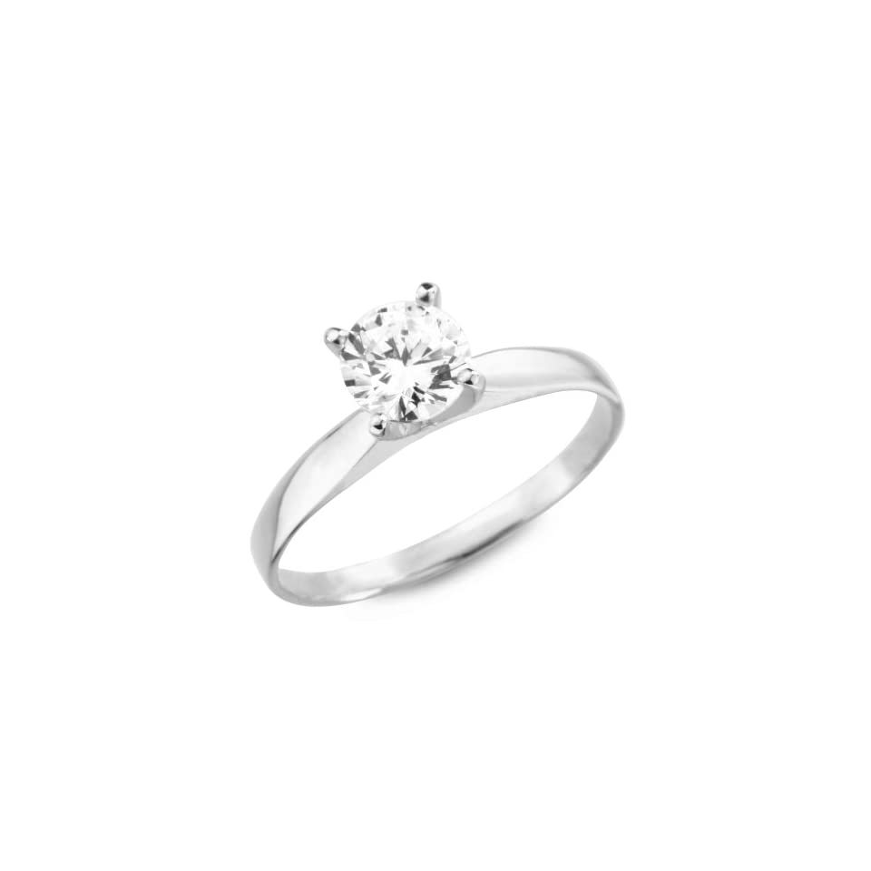 14k White Gold Prong Set Round CZ Cubic Zirconia Bridal Wedding Engagement Solitaire Ring 1.0ct