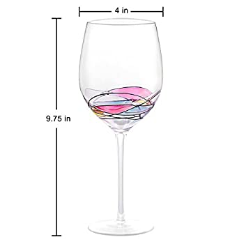 Wine Glass - LAMIGA Unique Hand Painted Gifts for Women, Men, Wedding, Anniversary, Couples, Engagement - Set of 2