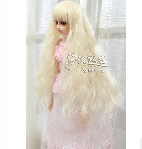 (22~24cm) 1/3 BJD Doll SD Fur Wig Dollfie / Creamy-White / Long Curl Hair / 013 fashion black hair extension fur wig 1 3 1 4 1 6 bjd wigs long wig for diy dollfie