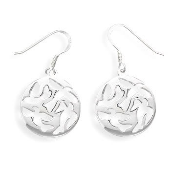 Cut Out French Wire Earrings with Dove Design