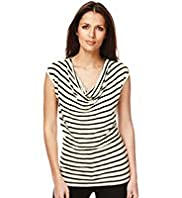 Autograph Cowl Neck Striped Drape Top with Linen