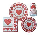 Valentine's Day Party Pack for 8 People - Disposable Pack Includes: Large Plates, Small Plates, Napkins and Cups
