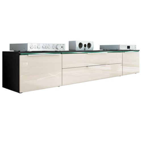 Tv Stand Unit Triest In Black / Cream High Gloss