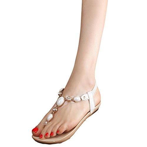 Hee Grand Donne Infradito Belle Sexy Basse Piatte con Strass Cinti Scarpe alla Moda EU 37.5/CN 39 Bianco