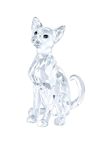 Swarovski 5135918-Statuetta, motivo: gatto siamese, 2,8 x 5,9 x 5,5 cm, in vetro, colore: trasparente