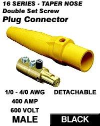 Leviton 16D24-E Single Pole Cam Type Plug Detachable Male Double Set Screw Complete 16 Series Taper Nose 1/0-4/0 Awg 400 Amp - Black (Pkg Of 10)