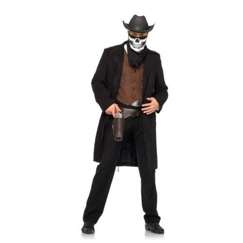 4PC.Reaper Cowboy,shirt vest,duster,holster,and
