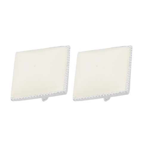 Rosallini Pair Square White Plastic Earbob Pierced Earrings for Lady Woman