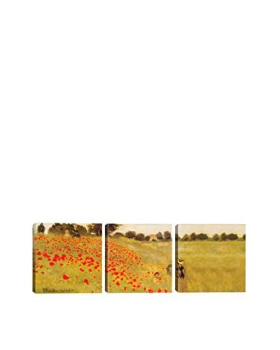 Claude Monet Field Of Poppies (Panoramic) 3-Piece Canvas Print