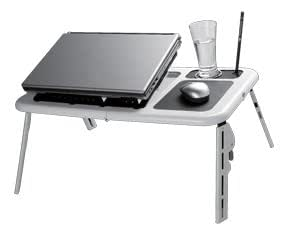 GTMax White Foldable Tray Table Desk with Cooling Fan for Laptop NoteBook