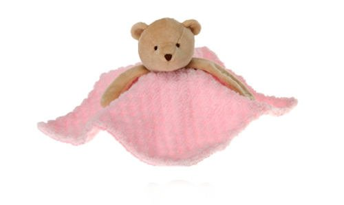 "Pink Blanket Bear Pacifier Holder 10"" by Fiesta"